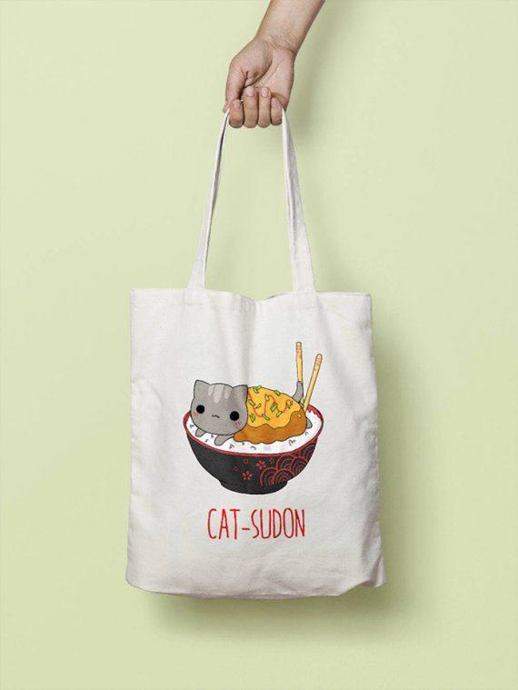 Bolsa tote bag catsudon gato