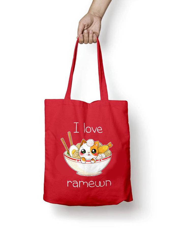Bolsa tote Gato Ramen kawaii