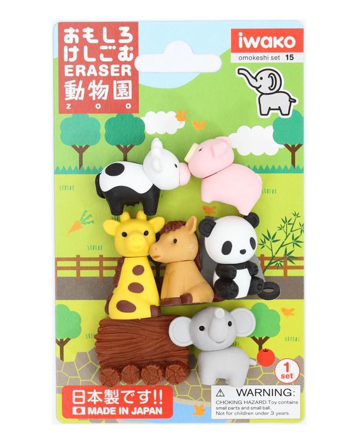 set gomas borrar iwako zoo animales