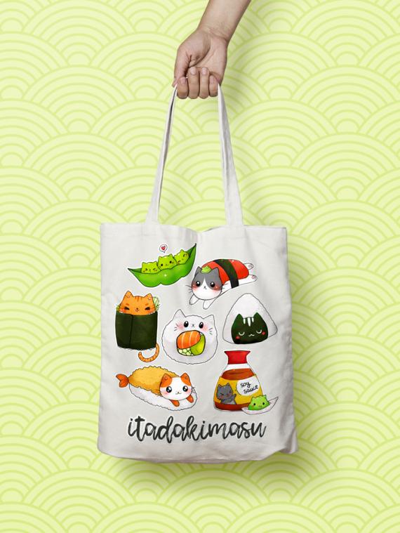 Bolsa de sushi gatos