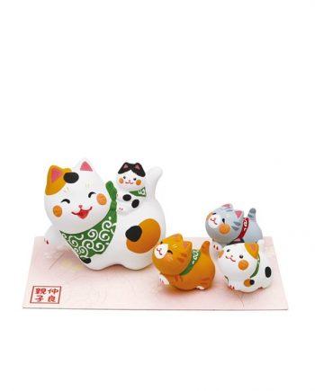 Figura de Familia de Gatitos Cerámica